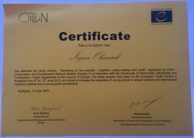 Certificat European Youth Center